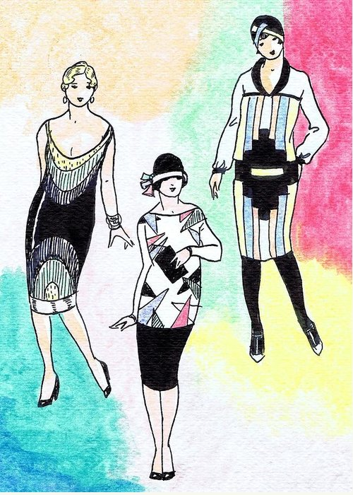Nostalgia Greeting Card featuring the drawing 1920s Gals 3 by Mel Thompson