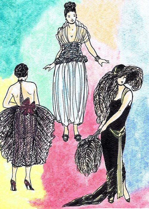 Nostalgia Greeting Card featuring the drawing 1920s Gals 4 by Mel Thompson