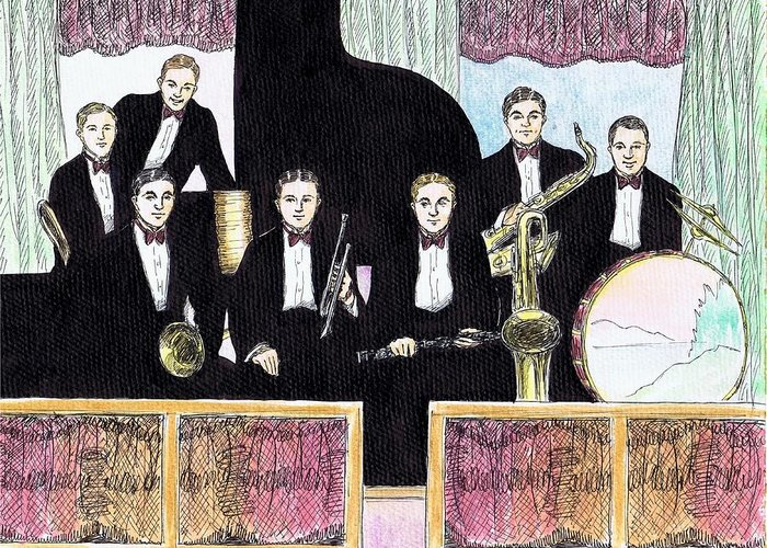 Nostalgia Greeting Card featuring the drawing 1920s Jazz Band With Curtains by Mel Thompson