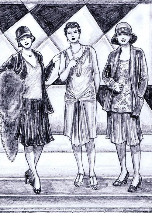 Nostalgia Greeting Card featuring the drawing 1920s Styles by Mel Thompson