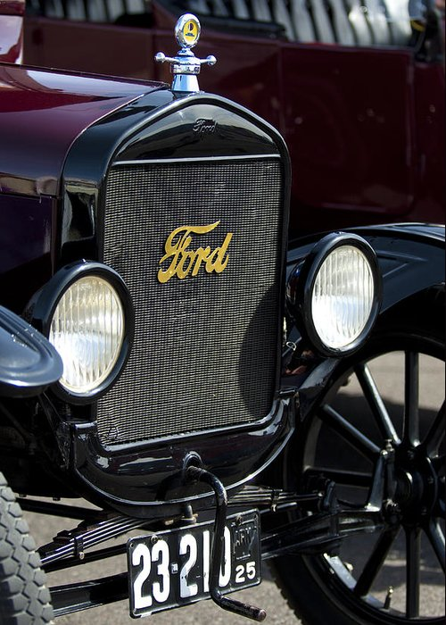 1925 Ford Model T Coupe Greeting Card featuring the photograph 1925 Ford Model T Coupe Grille by Jill Reger