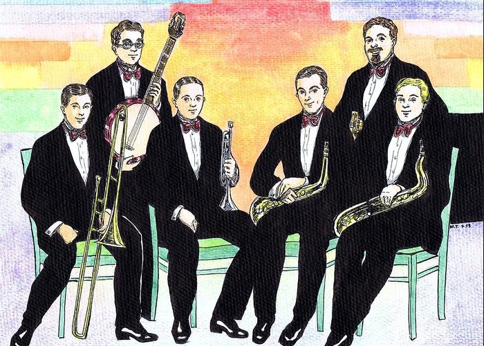 Nostalgia Greeting Card featuring the drawing 1927 New Yorkers Jazz Band by Mel Thompson