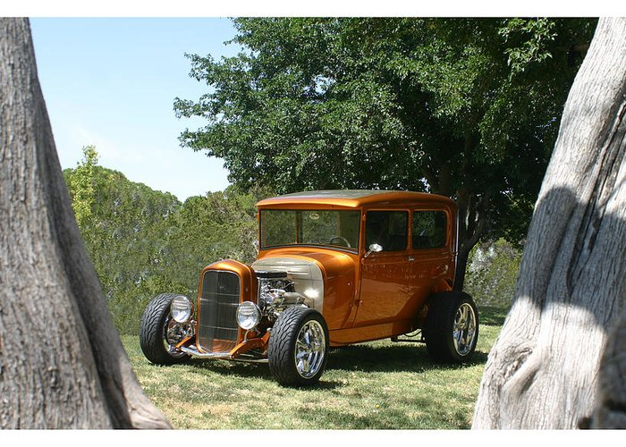 Framed Prints Of 1929 Ford Model A Greeting Card featuring the photograph 1929 Ford Butter Scorch Orange by Jack Pumphrey