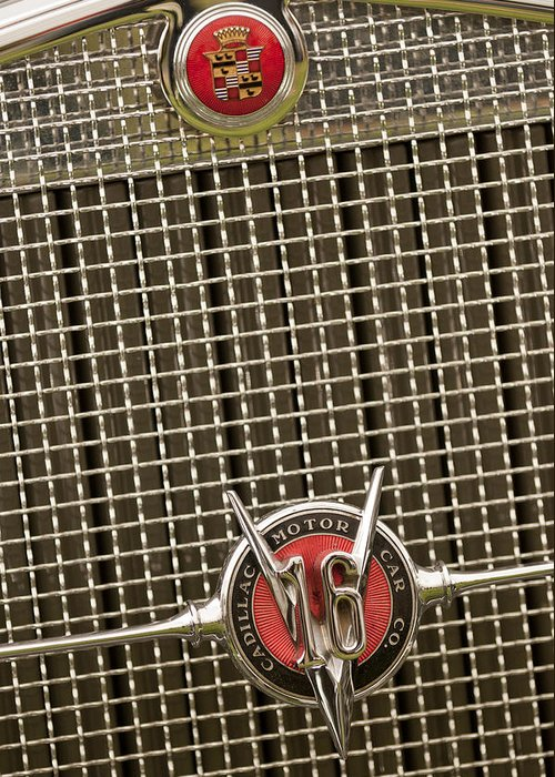 1930 Cadillac 452 Fleetwood Greeting Card featuring the photograph 1930 Cadillac 452 Fleetwood Grille Emblem by Jill Reger