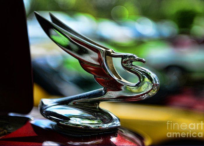 1934 Chevrolet Flying Eagle Hood Ornament Greeting Card featuring the photograph 1934 Chevrolet Flying Eagle Hood Ornament - 2 by Paul Ward