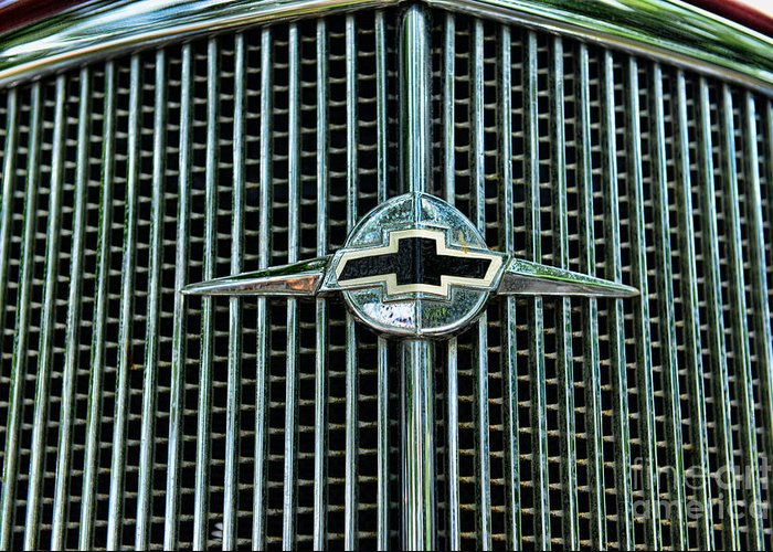 1934 Chevrolet Grill - Chevy Bowtie Greeting Card featuring the photograph 1934 Chevrolet Grill by Paul Ward
