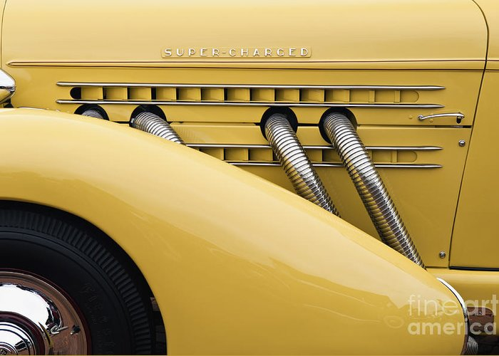 Tire Greeting Card featuring the photograph 1935 Auburn 851 Sc Speedster Detail - D008160 by Daniel Dempster