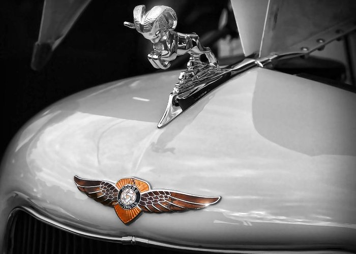 1935 Greeting Card featuring the photograph 1935 Dodge Brothers Pickup - Ram Hood Ornament by Gordon Dean II