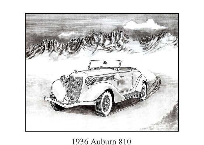 Framed Pen And Ink Images Of Classic Auburn Cars. Pen And Ink Drawings Of Vintage Classic Cars. Black And White Drawings Of Cars From The 1930�s Greeting Card featuring the drawing 1936 Auburn 810 by Jack Pumphrey