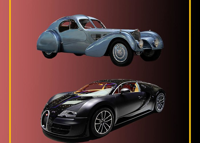 Framed Prints Of The 2010 Bugatti Veyron Eb 16.4 I Greeting Card featuring the photograph 1936 Bugatti 2010 Bugatti by Jack Pumphrey