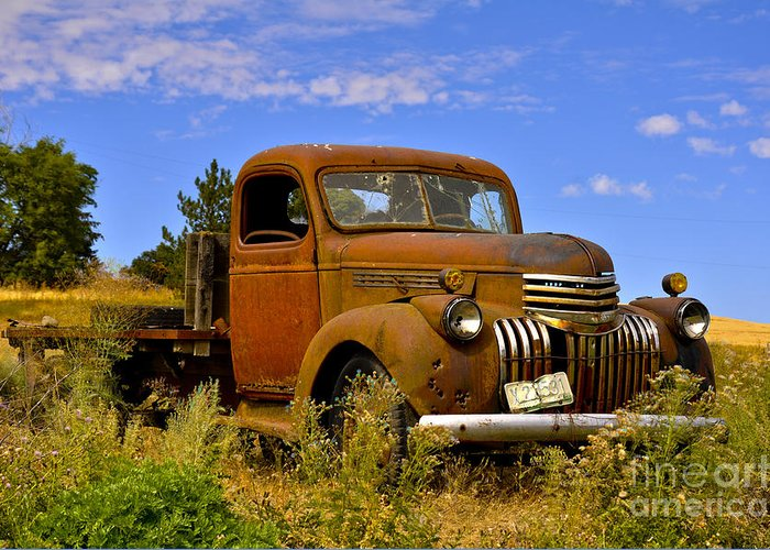 Old Truck Greeting Card featuring the photograph 1940's Chevy Truck 2 by Camille Lyver