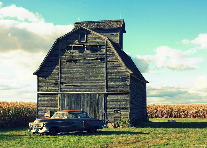 Vintage Greeting Card featuring the photograph 1950 Cadillac Barn Cornfield by Lyle Hatch