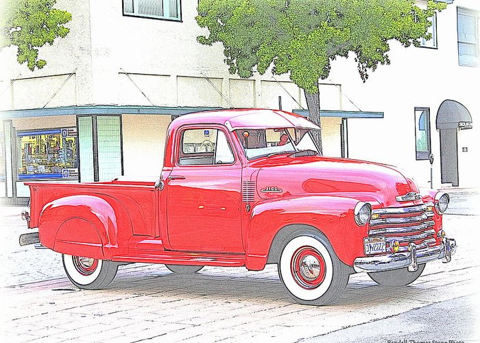 Truck Greeting Card featuring the photograph 1953 Red Chevy Pickup Truck by Randall Thomas Stone