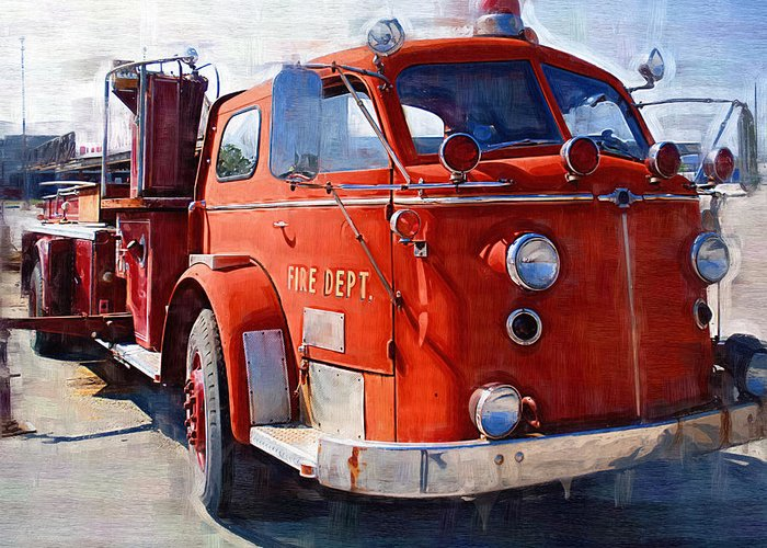 Classic Greeting Card featuring the photograph 1954 American Lafrance Classic Fire Engine Truck by Kathy Clark