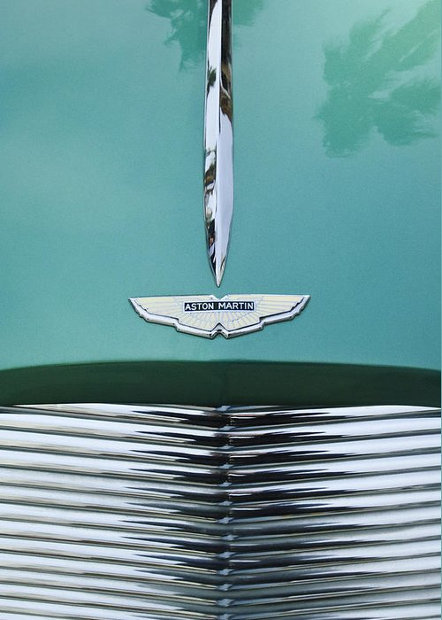 1955 Aston Martin Greeting Card featuring the photograph 1955 Aston Martin Grille Emblem by Jill Reger