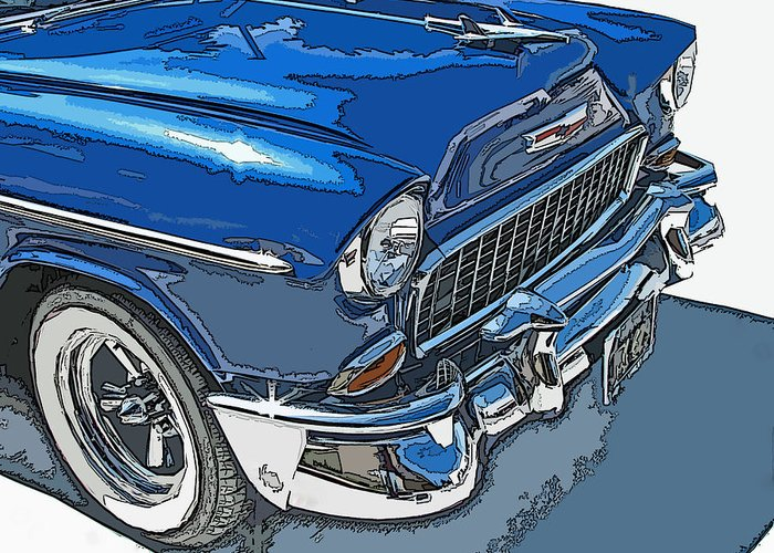 1955 Greeting Card featuring the photograph 1955 Chevy Bel Air Front Study by Samuel Sheats