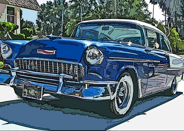 1955 Greeting Card featuring the photograph 1955 Chevy Bel Air by Samuel Sheats
