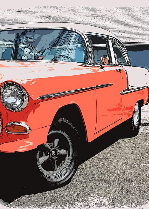 Hot Rod Greeting Card featuring the photograph 1955 Chevy by Steve McKinzie