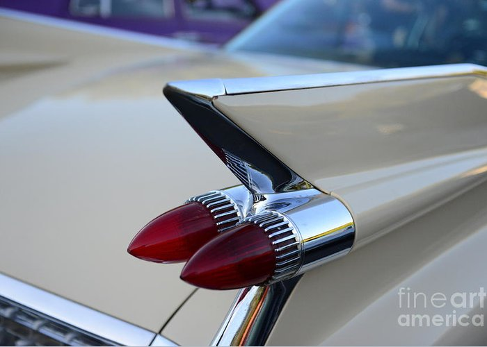 1958 Cadillac Tail Lights Greeting Card featuring the photograph 1958 Cadillac Tail Lights by Paul Ward