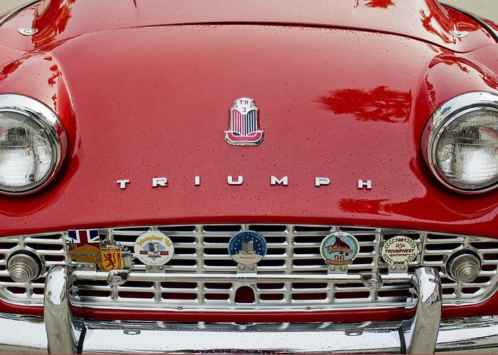 1960 Triumph Tr 3 Greeting Card featuring the photograph 1960 Triumph Tr 3 Grille Emblems by Jill Reger