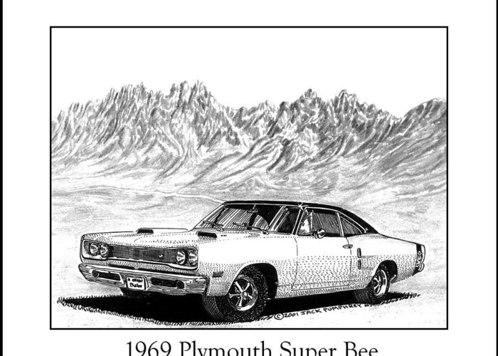 Organ Mountains-desert Peaks National Monument Greeting Card featuring the drawing 1969 Plymouth Super Bee by Jack Pumphrey