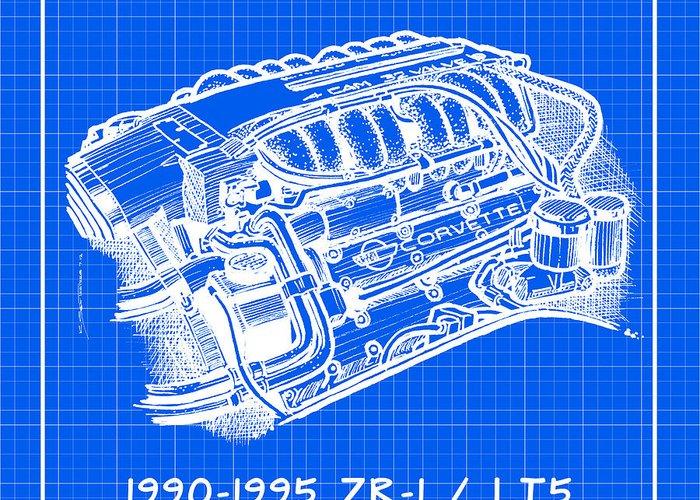 lt5 engine diagram 1990 1995 c4 zr 1 lt5 corvette engine reverse blueprint greeting  1990 1995 c4 zr 1 lt5 corvette engine