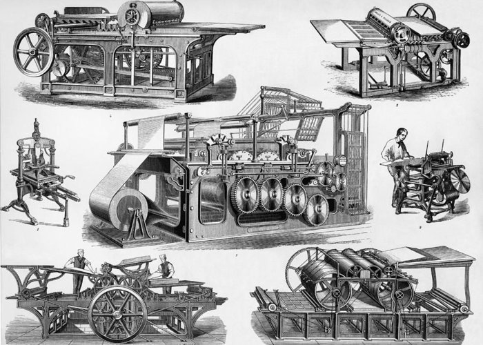 19th century printing machines greeting card for sale by sheila terry albion hand press greeting card featuring the photograph 19th century printing machines by sheila terry m4hsunfo