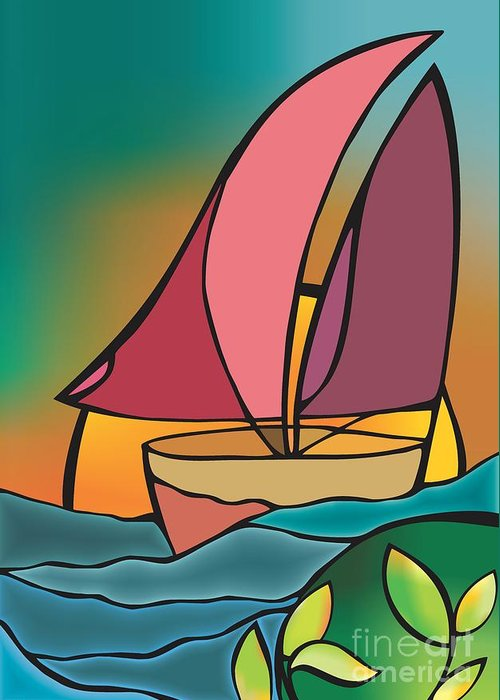 Greeting Card featuring the digital art A Boat by Mona Kazemi