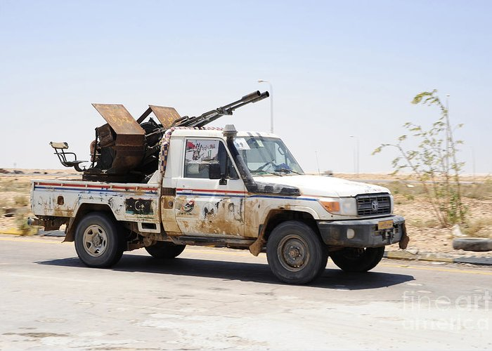 Ajadabiya Greeting Card featuring the photograph A Free Libyan Army Pickup Truck by Andrew Chittock