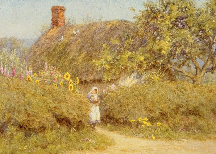 Surrey; Cottage; Rural; Country; Countryside; Thatch; Thatched; Sunny; Sunflowers; Foxgloves; Flowers; Doves; Pigeons; Birds; Hedge; Female; Young; Child; Girl; Pinafore; Cat; Pet; Holding; Chimney; House; Home; Idyll Greeting Card featuring the painting A Surrey Cottage by Helen Allingham