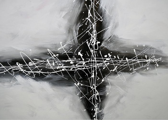 White Greeting Card featuring the painting Abstract Black by Zack Settle