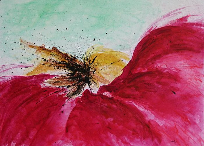 Abstract Art Greeting Card featuring the painting Abstract Flower by Ismeta Gruenwald