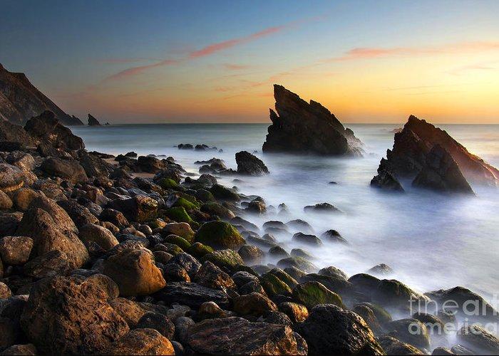 Adraga Greeting Card featuring the photograph Adraga Beach by Carlos Caetano