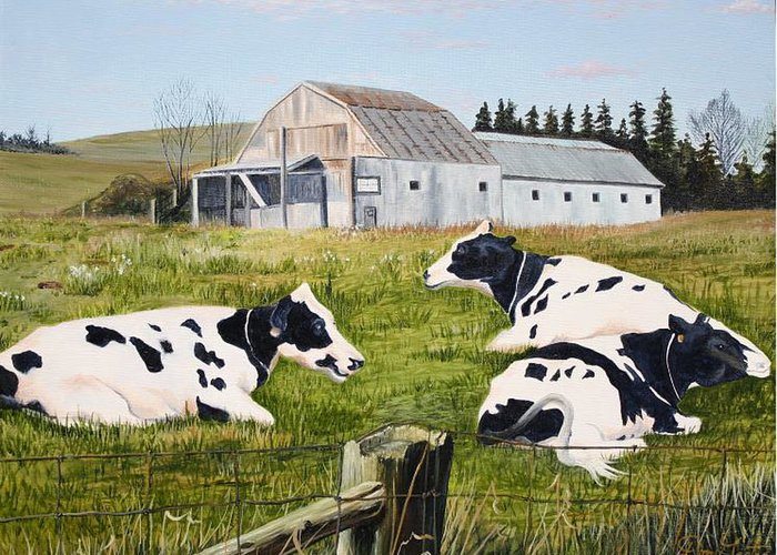 Cows Greeting Card featuring the painting Afternoon In The Pasture by Don Goetze