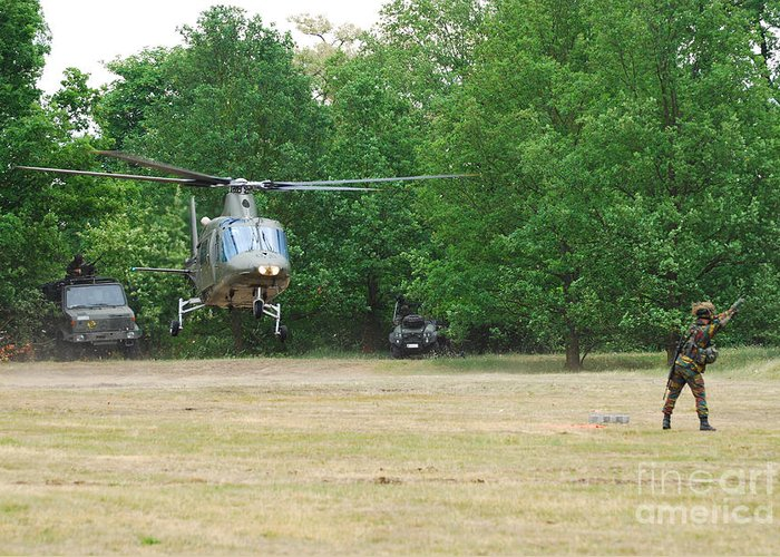 Helicopter Greeting Card featuring the photograph An Agusta A109 Helicopter by Luc De Jaeger