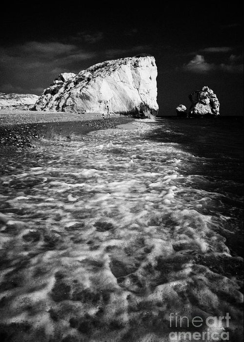 Aphrodites Greeting Card featuring the photograph Aphrodites Rock Petra Tou Romiou Republic Of Cyprus Europe by Joe Fox