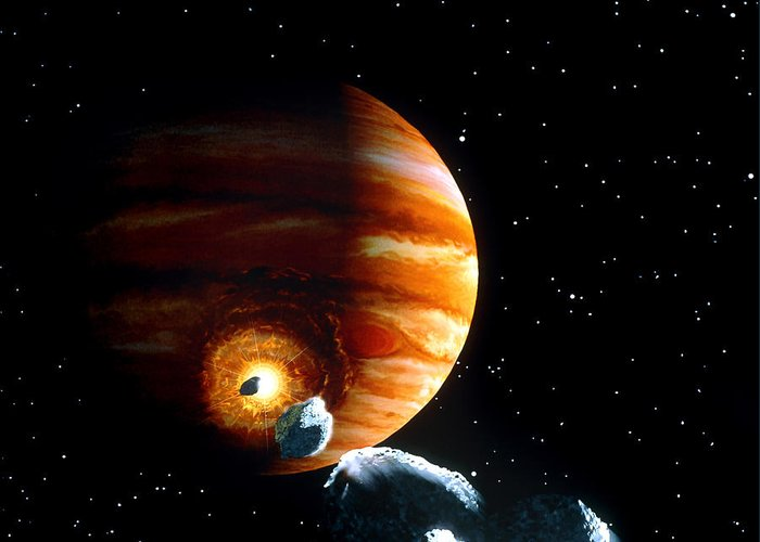 Shoemaker-levy 9 Greeting Card featuring the photograph Artwork Of First Comet Impacts On Jupiter, 1994 by Julian Baum