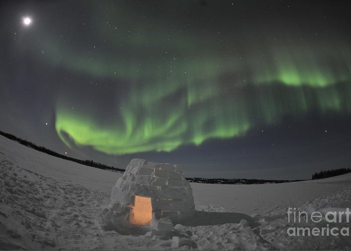 Yellowknife Greeting Card featuring the photograph Aurora Borealis Over An Igloo On Walsh by Jiri Hermann