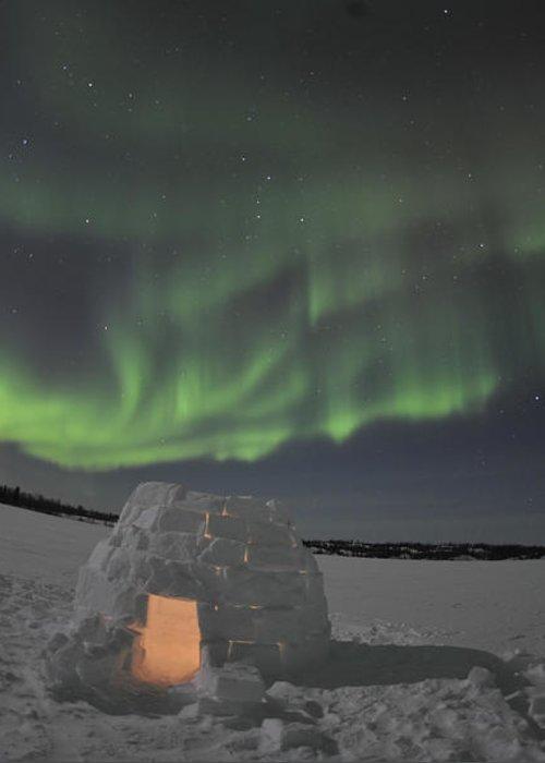 Yellowknife Greeting Card featuring the photograph Aurora Borealis Over An Igloo On Walsh by Jiri Hermann