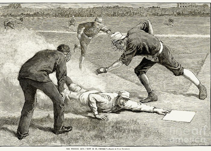 1885 Greeting Card featuring the photograph Baseball Game, 1885 by Granger