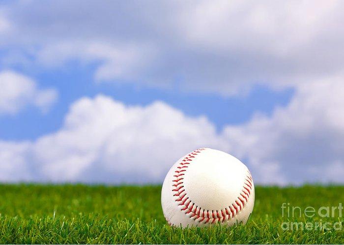 Baseball Greeting Card featuring the photograph Baseball On Grass by Richard Thomas