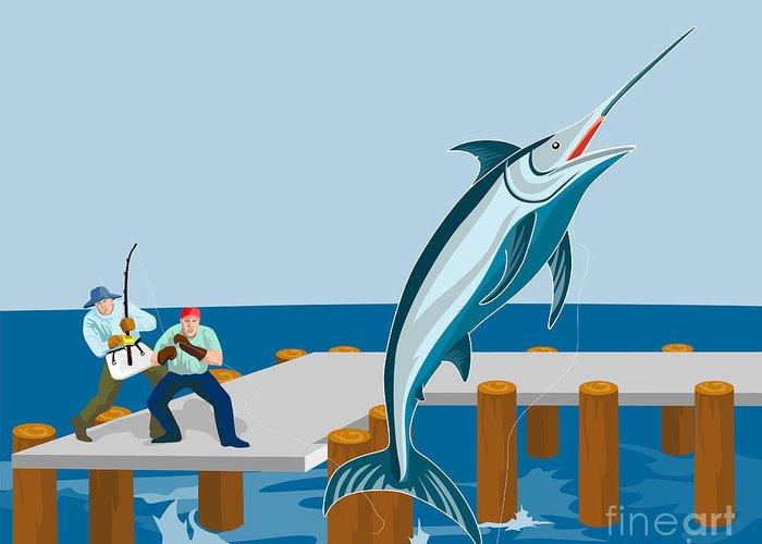 Blue Marlin Greeting Card featuring the digital art Blue Marlin Fish Jumping Retro by Aloysius Patrimonio