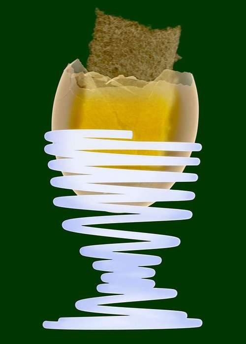 Egg Greeting Card featuring the photograph Boiled Egg In An Eggcup, X-ray by D. Roberts