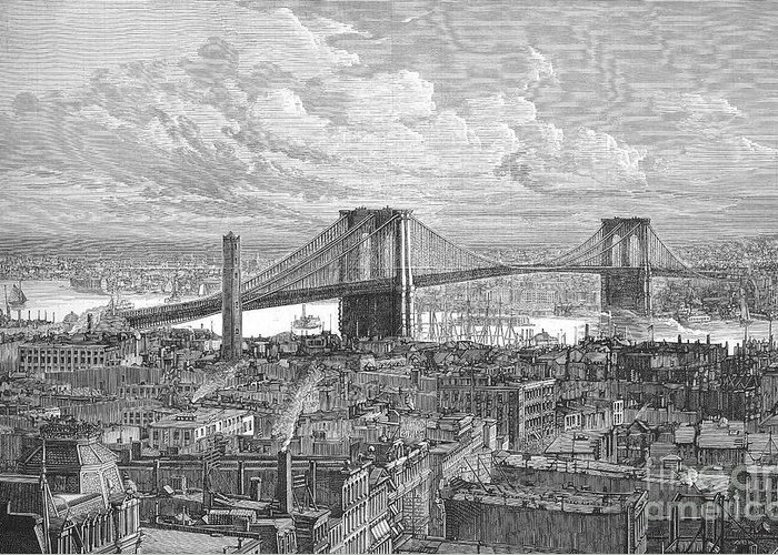 1883 Greeting Card featuring the photograph Brooklyn Bridge, 1883 by Granger
