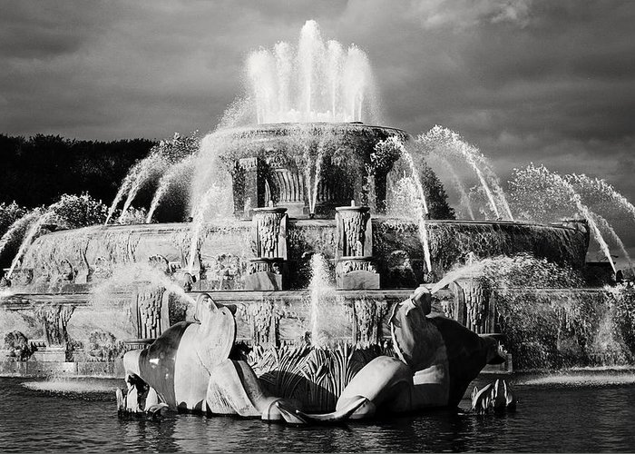 Black And White Greeting Card featuring the photograph Buckingham Fountain by Laura Kinker