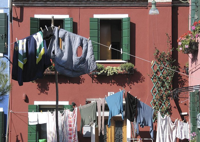 Fac?ade Peinte Greeting Card featuring the photograph Burano. Venice by Bernard Jaubert