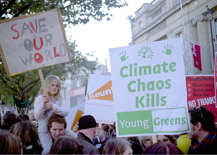 I Count Greeting Card featuring the photograph Campaign Against Climate Change March by Victor De Schwanberg