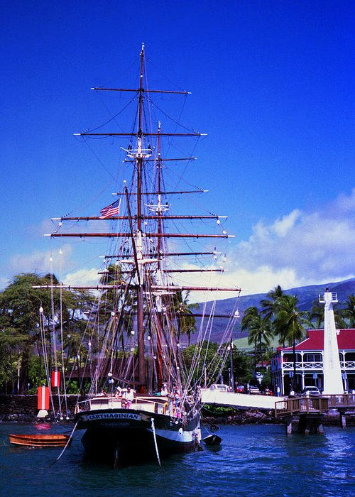 Lahaina Hawaii Maui Harbor Whaling Ship Ocean Greeting Card featuring the photograph Carthaginian by James Roemmling