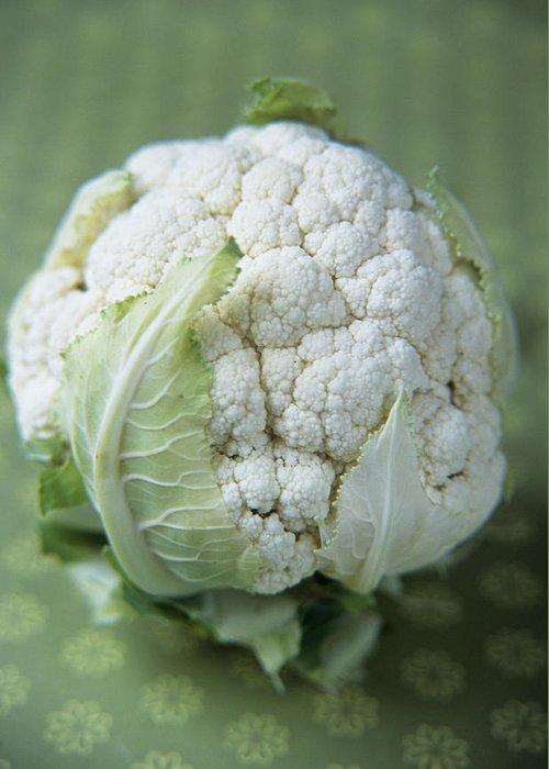 Brassica Oleracea Botrytis Greeting Card featuring the photograph Cauliflower by Veronique Leplat