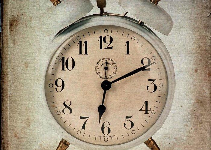 Flypaper Textures Greeting Card featuring the photograph Clock by Bernard Jaubert
